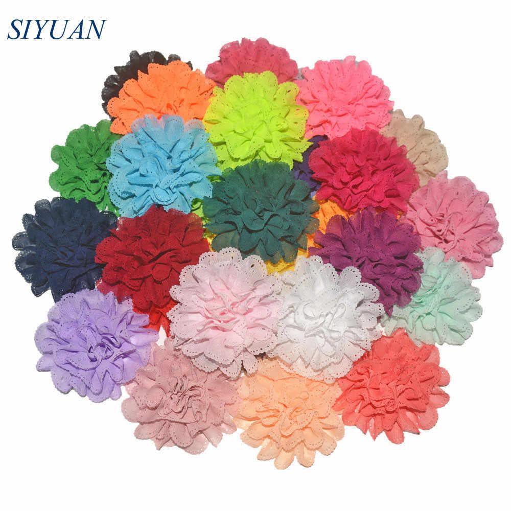 50 unids/lote 9,0 cm tela brillante con ojal flor con/sin pinza de pelo de cocodrilo chica moda sombreros TH253