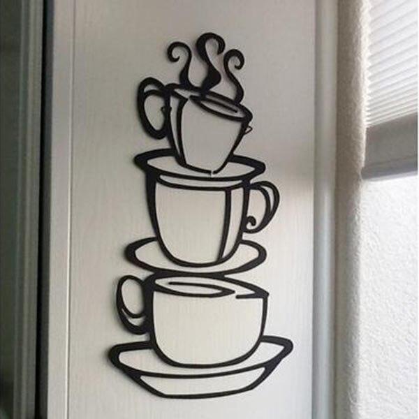 new removable plane wall hotel restaurant decor coffee cup mug design vinyl wall sticker home decor