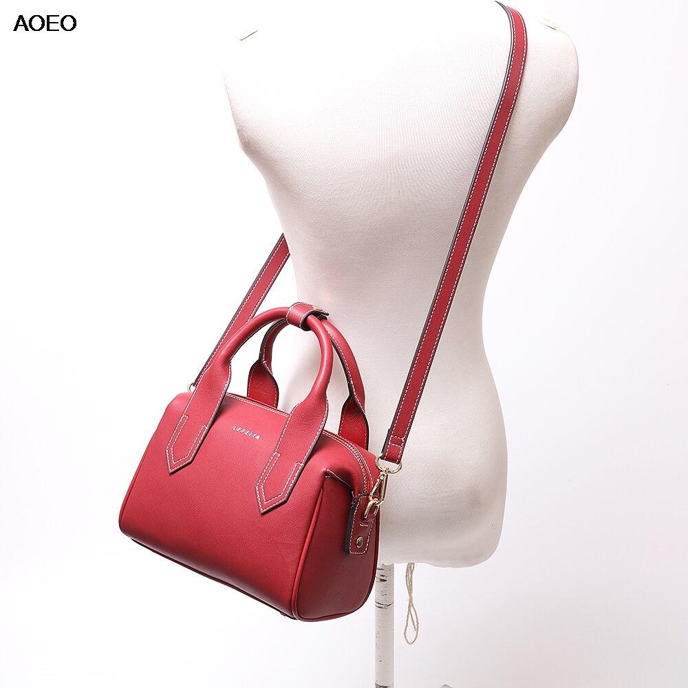 AOEO Luxury Handbags Women Crossbody Bag Designer High Quality Ladies Fashion Split Leather Boston Shoulder Messenger