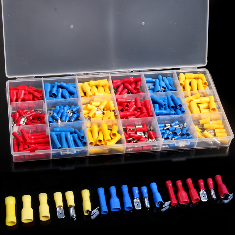 300PCS Waterproof Electrical Crimp Terminals Insulated Spade Bullet Terminals Connectors Kits with Box 1 928 404 195 connectors terminals housings 100
