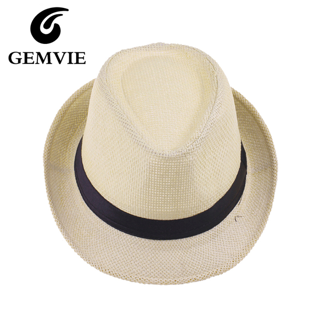 15a209dab13 Children Solid Straw Hats Panama Fedora Hat For Boys And Girls Summer Beach  Cowboy Kids Jazz Caps 6 Colors