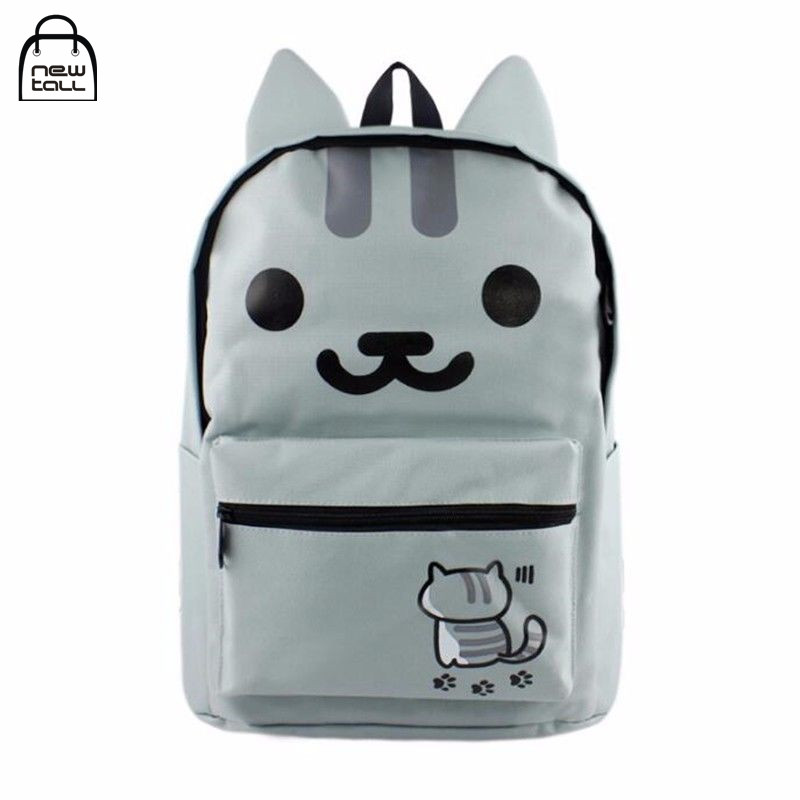 Newtall Anime Neko Atsume Cute Cat Cartoon Backpack Women Satchel Canvas School Shoulder Bag Man Gift Collection New Fashion цена