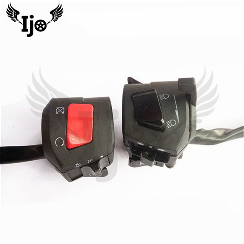 one pair unviersal 25MM moto handlebar controll parts motorbike switch for honda suzuki yamaha switches motorcycle controller