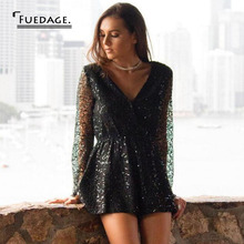 Summer Autumn Sequin Jumpsuits For Women 2018 Deep V Sexy Long Sleeve Elegante Playsuit Hollow Rompers
