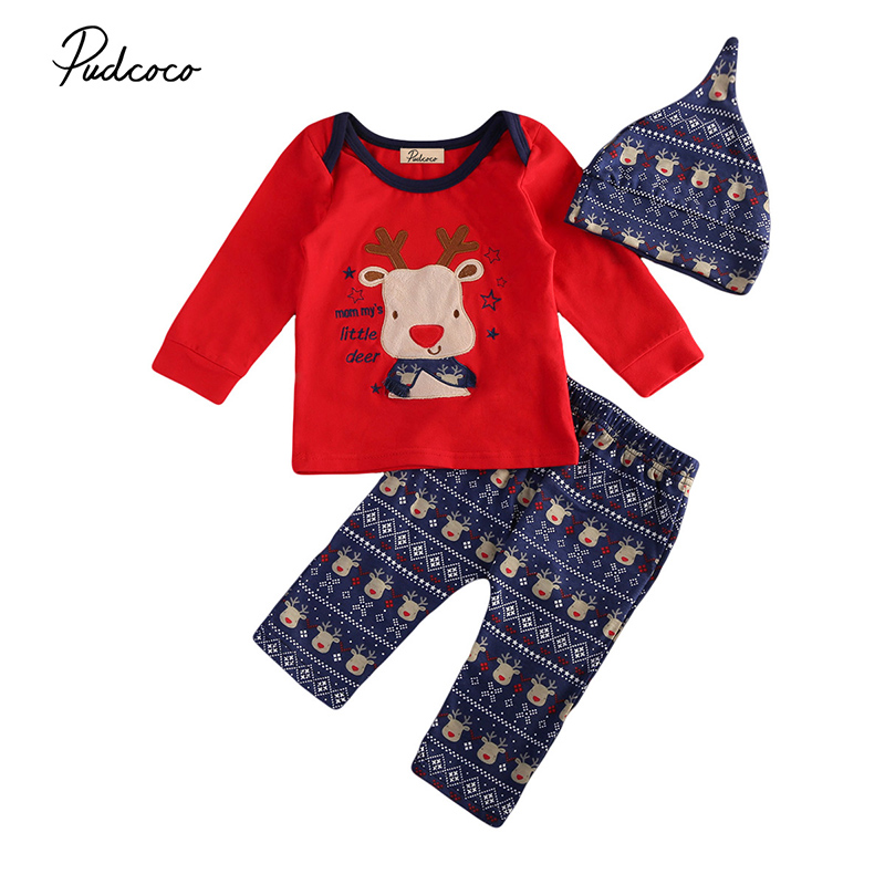 2017 Christmas Newborn Baby Boy Girl Deer Clothes Long Sleeve Cotton T-shirt Tops+Long Pant Hat 3PCS Outfits Kids Clothing Set organic airplane newborn baby boy girl clothes set tops t shirt pants long sleeve cotton blue 2pcs outfits baby boys set