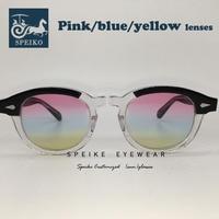 SPEIKE Customized vintage baby blue lenses sunglasses Johnny Depp Lemtosh style retro glasses can be myopia sunglasses