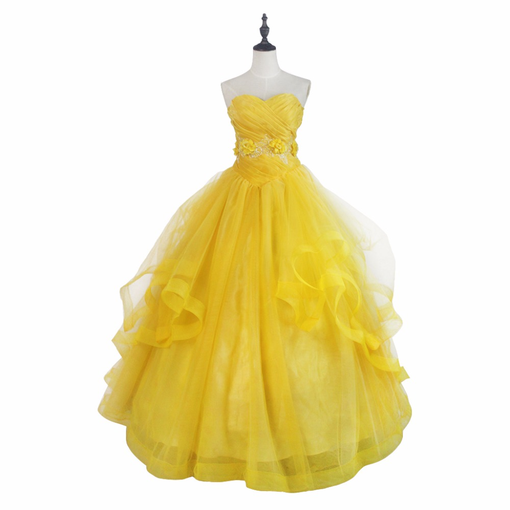 2017 Beauty and the Beast Princess Dress Belle Yellow Dress Version 3 Cosplay Costume Custom Made