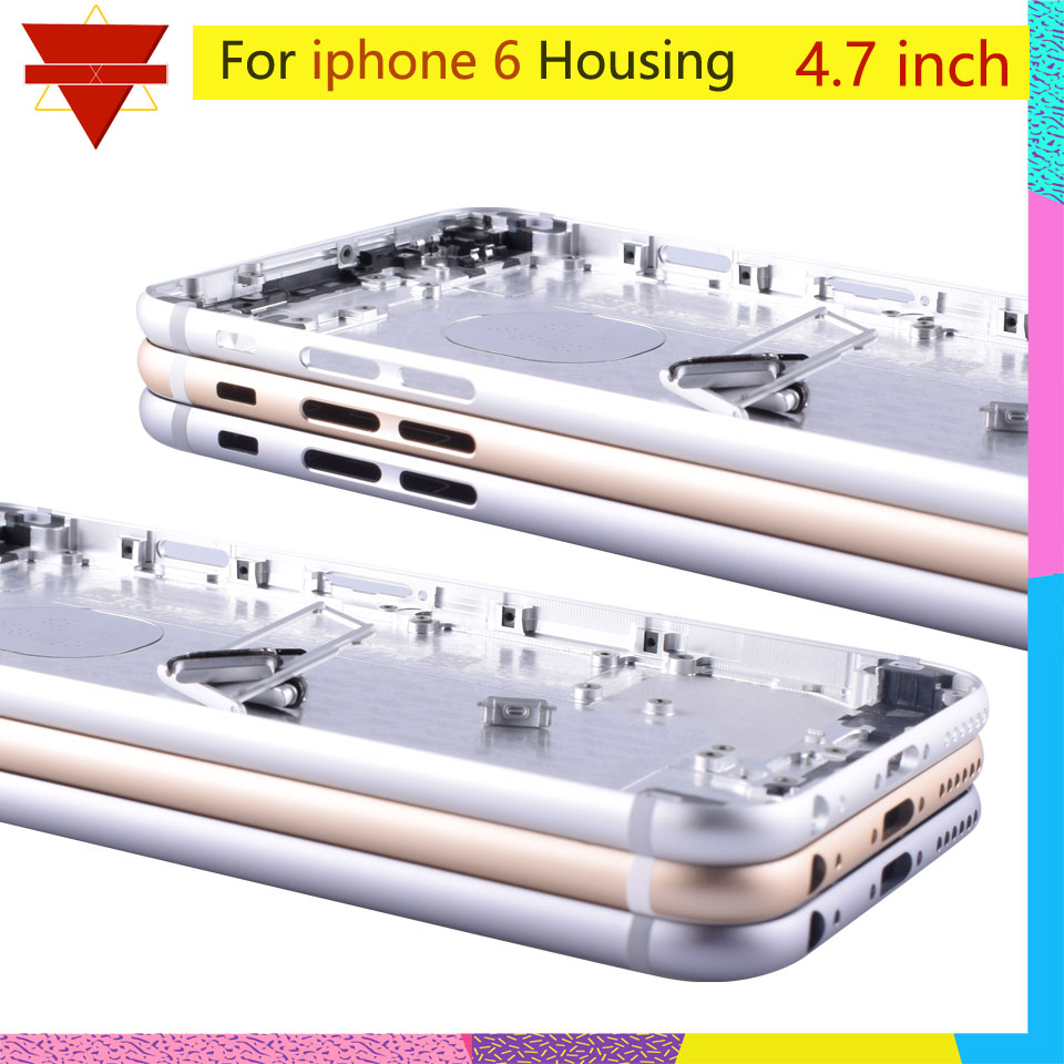 Original Quality For Iphone 6 Coque Battery Cover Door Housing Coque For Apple Iphone6 Shell Chassis Middle Frame Body Rear Case