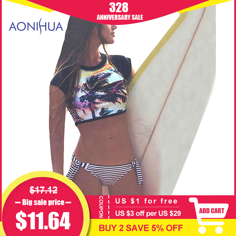 AONIHUA Bikini Set for Women 2018 New Palm Print Halter Retro High Waist Two Piece Swimwear Brazilian Striped Beach Swimsuit