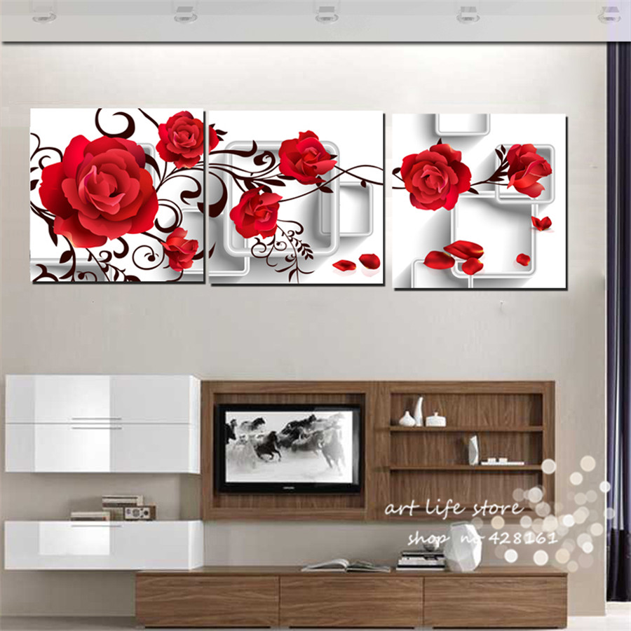 3 pieces cute roses of red colors flower for living room - Cute colors to paint your room ...