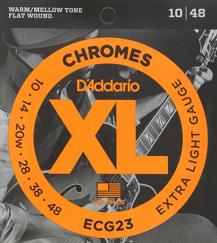 D'Addario ECG23 Chromes Flat Wound Electric Guitar Strings, Extra Light, 10-48 d addario daddario exl110 american made nickel wound electric guitar strings regular light 10 46