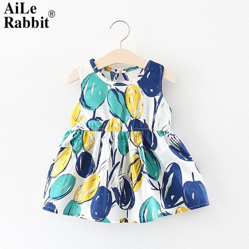 AiLe Rabbit Summer New 2018 Childrens Dress Girls Dress Baby Girl Multi Flower Optional Princess Dress Vestido