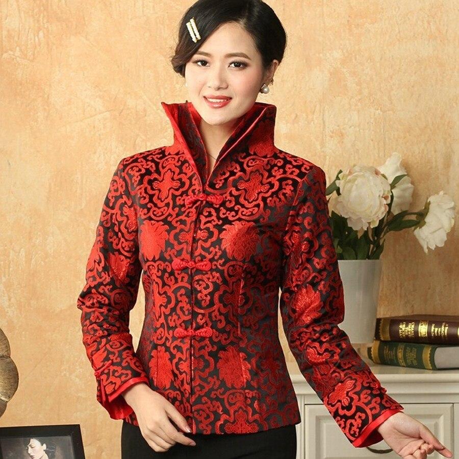 Negro-rojo de estilo chino tradicional de las mujeres capa de la chaqueta de sat