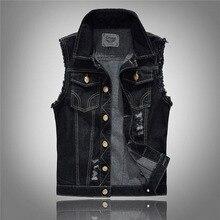 summer style Men's denim vest slim men denim Outerwear Coats fashion hole Sleeveless vest for men big size 5xl 6xl blue black