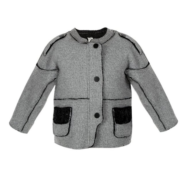Little Boys Winter Splicing Jacket Woolen Cloth Warm Patchwork Coat