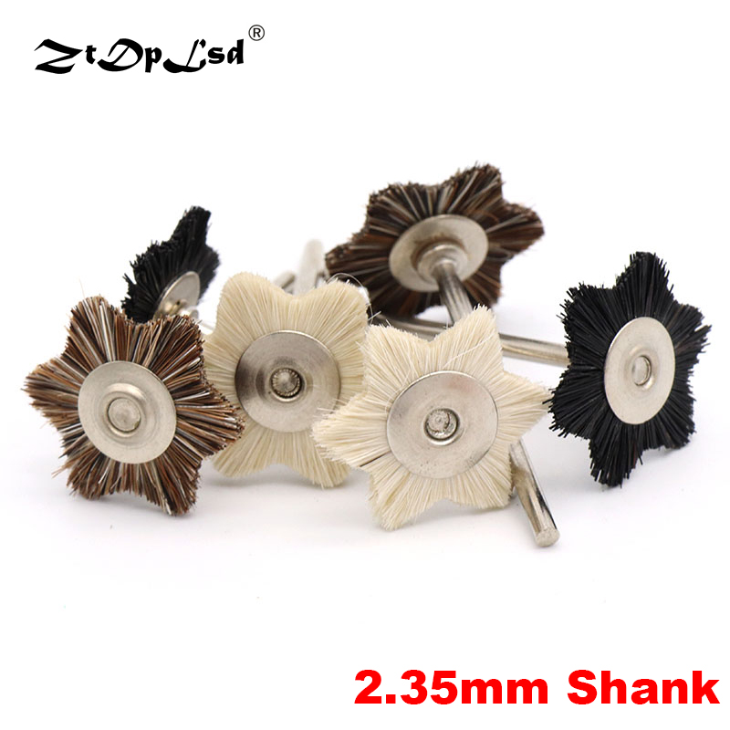 1Pcs 2.35mm Shank Star Shape Mini Wool Pig Horse Hair Polishing Brush For Drill Rotary Grinding Tool Dremel Accessories Brushes