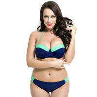 New Ladys Style Plus Size Cup Mid Waist Bikini sets Underwire Push Up Breast Padding Retro Woman Swimwear Halter Full coverage