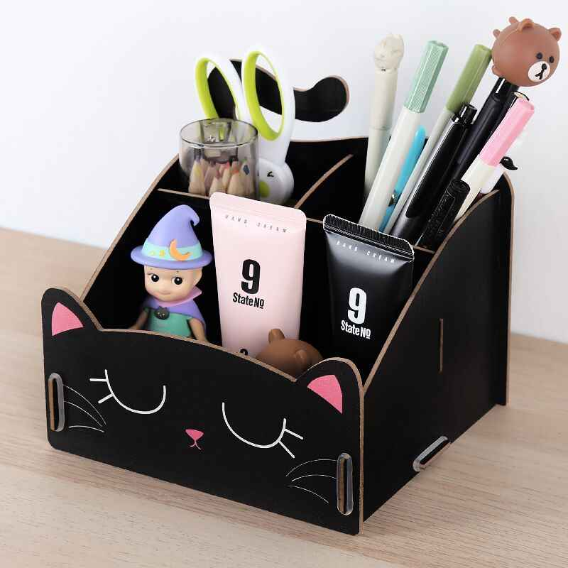 Cute cat pen holder Multifunctional storage Wooden cosmetic storage box Memo boxPenholder gift office organizer School supplie
