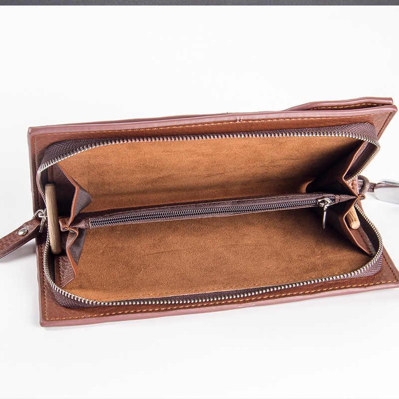 Baellerry hombres carteras largo estilo de negocios PU cuero hombres monedero cremallera un montón de tarjetero teléfono móvil bolsillo calidad dinero bolsa