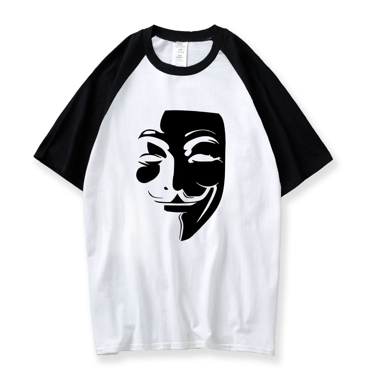 V for Vendetta Raglan Tee 2018 Summer New Style Simple Casual Loose Printed T Shirt Boyfriend Men 100% Cotton O Neck Mens Tshirt