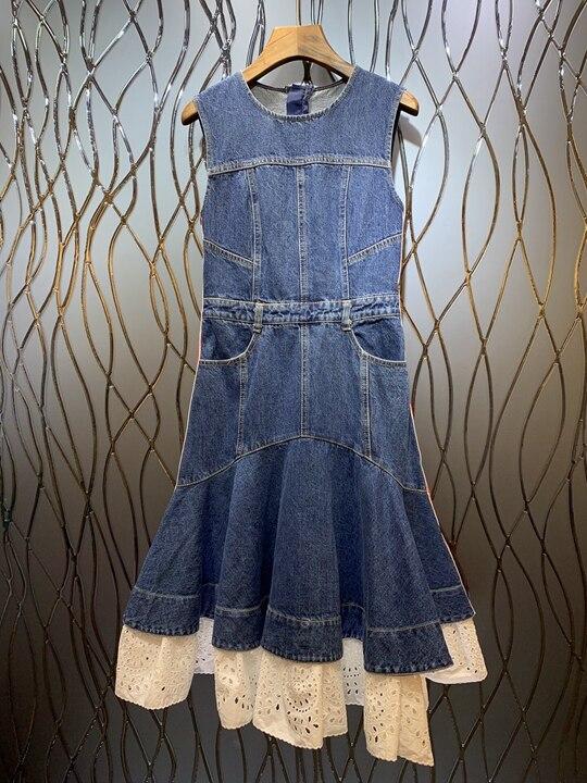 Nouvelle robe d'été 2019 femmes col rond taille symétrique poche A forme pendule gilet denim robe 627-in Robes from Mode Femme et Accessoires    1