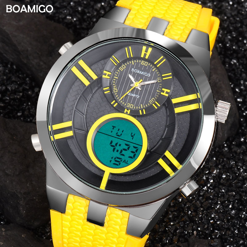 Men Sports Watches Digital Watches BOAMIGO Brand Military Quartz Watches Yellow Rubber Waterproof Gift Wristwatches reloj hombre men dual display watches fashion sports watches leather digital watches boamigo waterproof quartz gift wristwatches reloj hombre