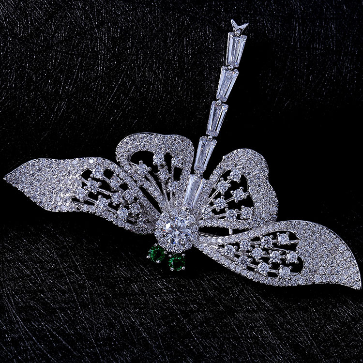 Nature Vintage Opens Green Eyes Flying Dragonfly Brooches Full Pave & - Fashion Jewelry - Photo 2
