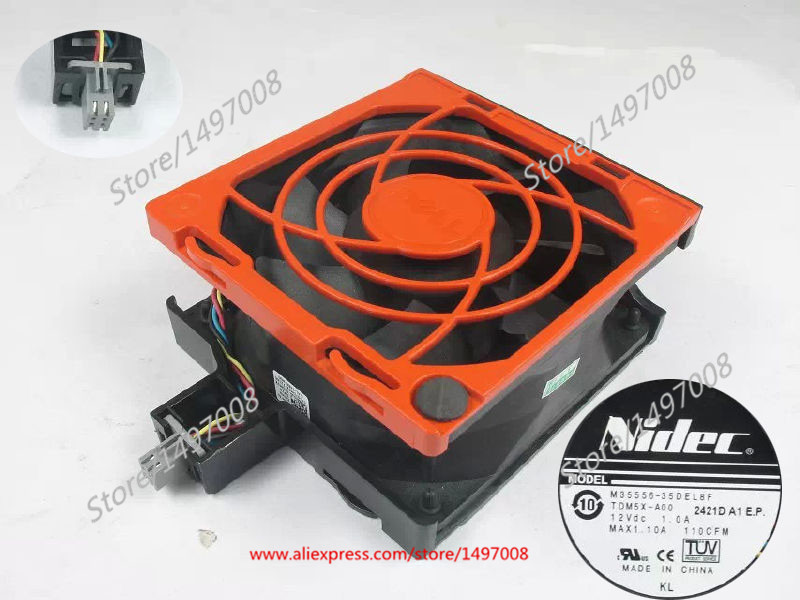 NIDEC M35556-35DEL8F DC 12V 3.00A Server Square Fan nidec x17l50bs2m3 07 dc 50v 3 12a 150x150x50mm server round fan