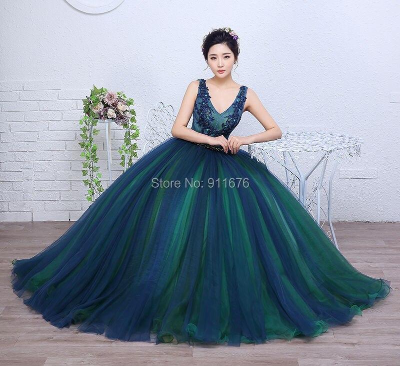 df2307fbb El más nuevo vestidos de bola verde oscuro vestidos de quinceañera 2017 con  cuello en v sin mangas appliques sweet 16 vestidos de baile vestidos de 15  anos ...