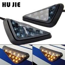 цена на Motorcycle Triangle Turn Signal Lamps Piranha Light Flasher 11 LED Indicators Blinker For Kawasaki Ninja ZX6R ZX9R ZX7R ZX10R