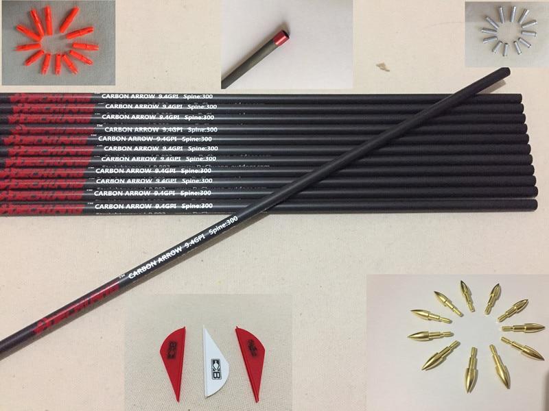 12pcs Pure Carbon arrow shaft sp300 12pcs arrow insert 12pcs arrow nock 36pcs arrow vane 12pcs