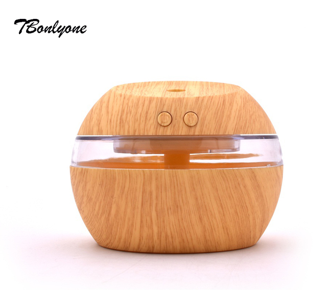 TBonlyone 300ML Wood Grain Humidifier Essential Oil Aroma Diffuser with Lamp Electric Ultrasonic Air Humidifier for Home Office
