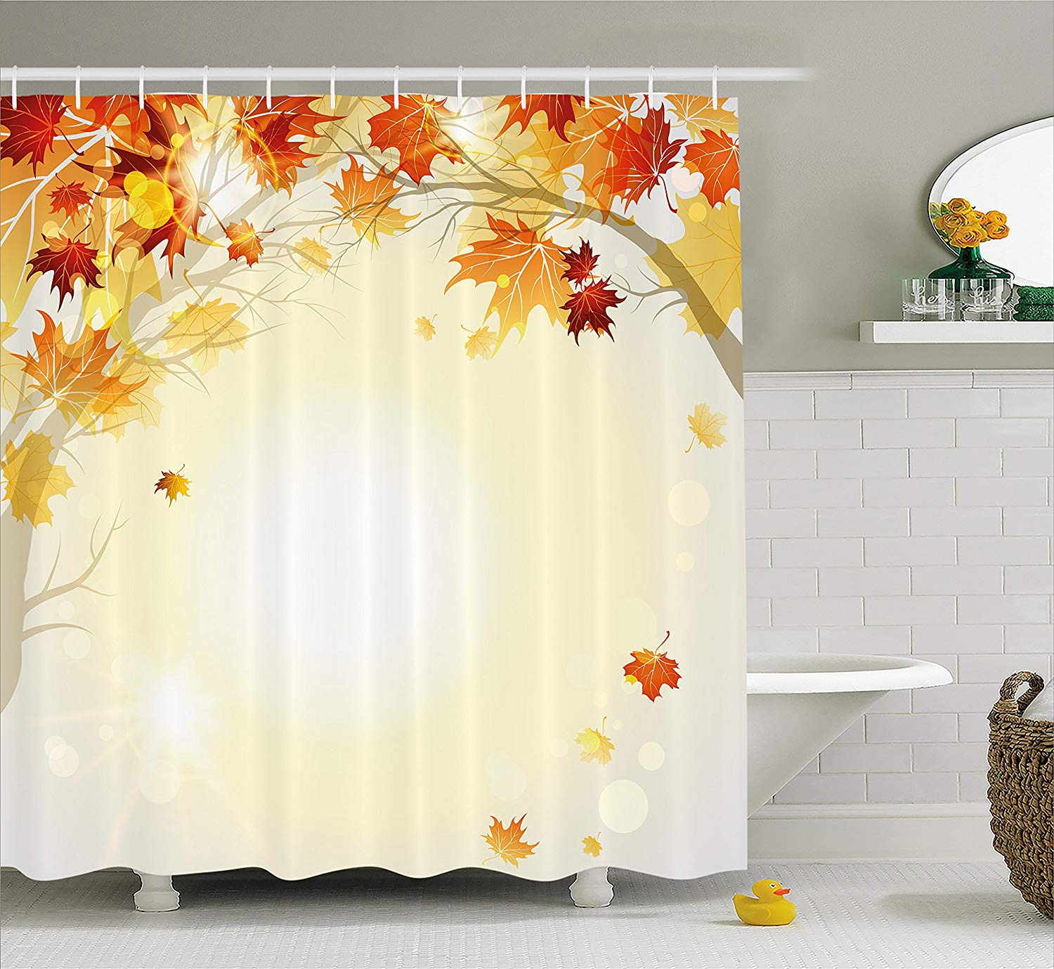 Shower Curtains Yellow Maple Leaves In Fall 71 Waterproof