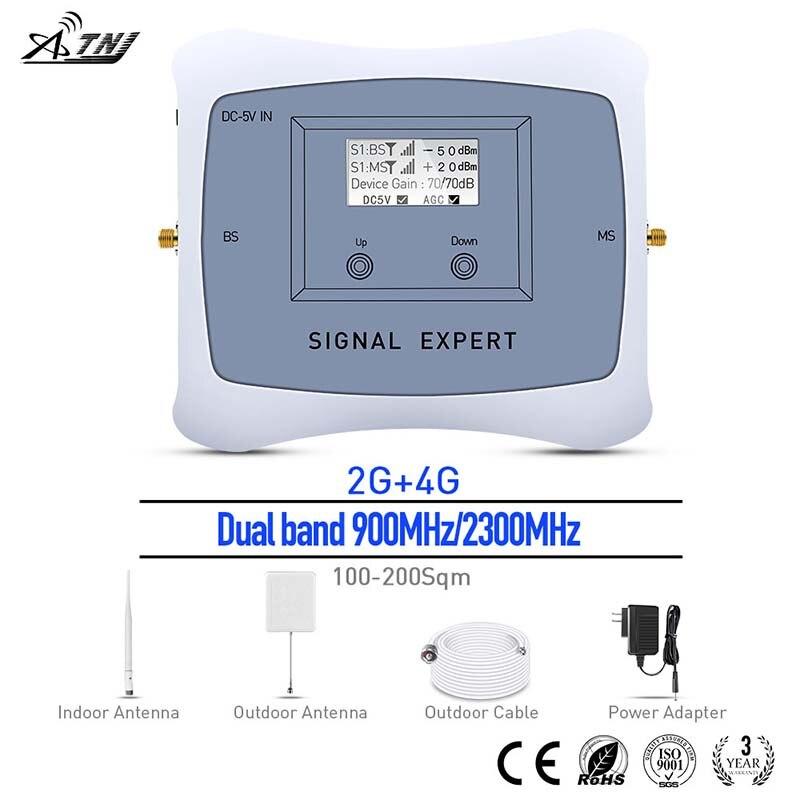 2018 Dual Band 900/2300 мГц 2G 4G Мобильный усилитель сигнала 2G 4G повторитель сигнала усилитель сигнала сотовой комплект для ассия Африка