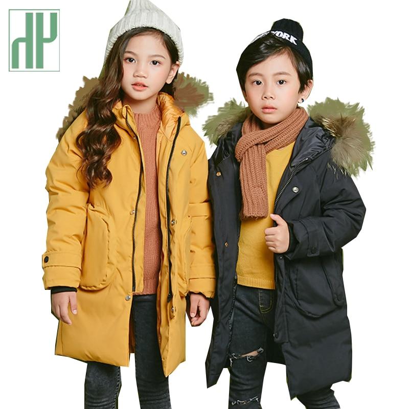 HH vestes pour enfants épais duvet chaud manteau bébé fille garçon grande russie fourrure Parkas bambin garçons snowsuit enfants fourrure parkas 6 8 ans