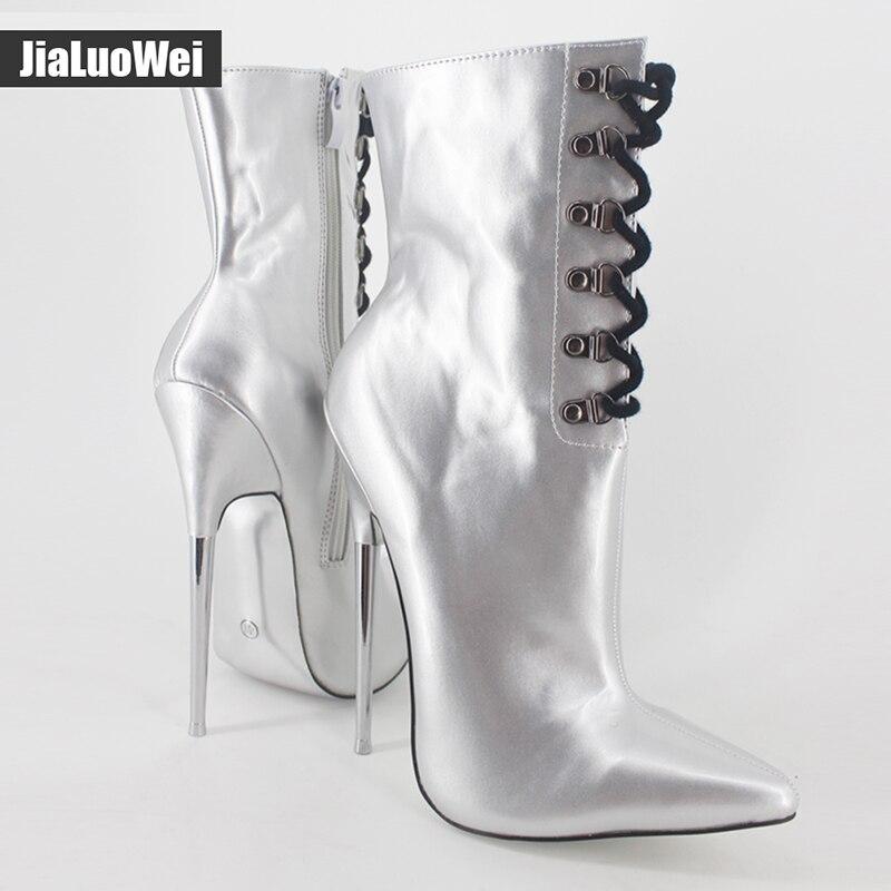 7 Extreme high heel mode stiefeletten Metall dünne Heels Lace up unisex fetisch sexy Spitz PU leder frauen martin schuhe - 5