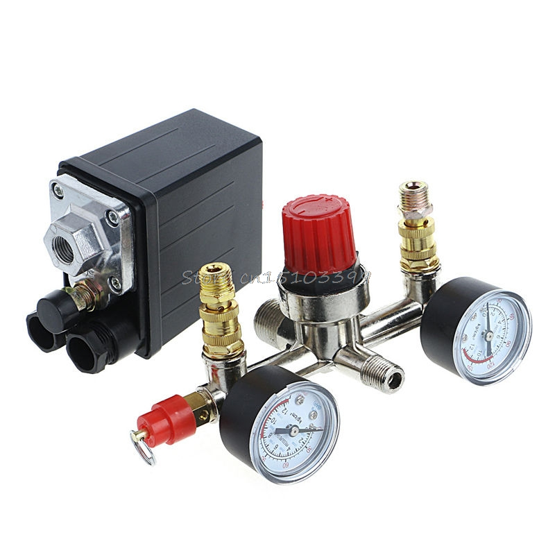 Regulator Heavy Duty Air Compressor Pump Pressure Control Switch + Valve Gauge G08 Drop ship 120psi air compressor pressure valve switch manifold relief regulator gauges
