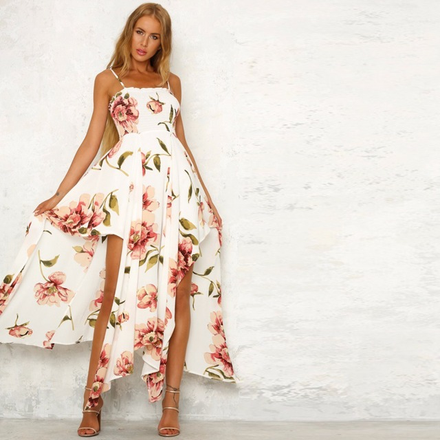 0f34de0caf745 Sexy Backless Women Floral printed Dress Summer Strappy White Red long  Style Party Sleeveless strapless Slim Beach Dresses-in Dresses from Women's  ...
