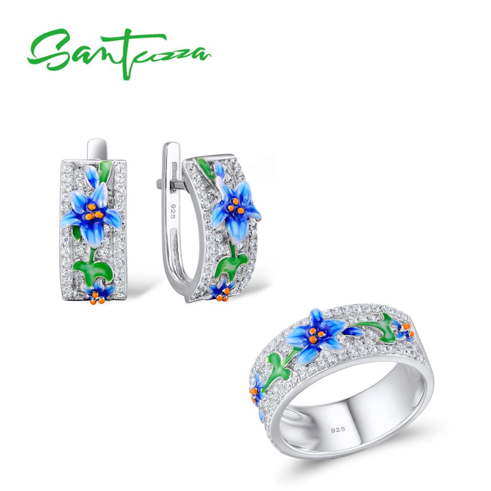 SANTUZZA Silver Jewelry Set For Woman Blue Flower Ring Earrings 925 Sterling Silver Party Fashion Jewelry Set HANDMADE Enamel