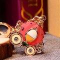 Alice pumpkin carriage keychain car key chain women's crystal bag gift