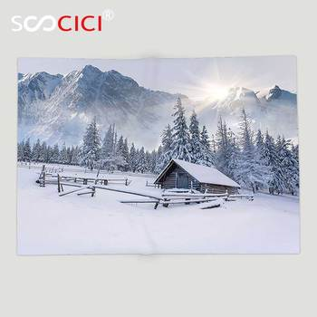 Custom Soft Fleece Throw Blanket Apartment Decor Collection Old Farm House by the Mountain in the Winter Season Cold Times