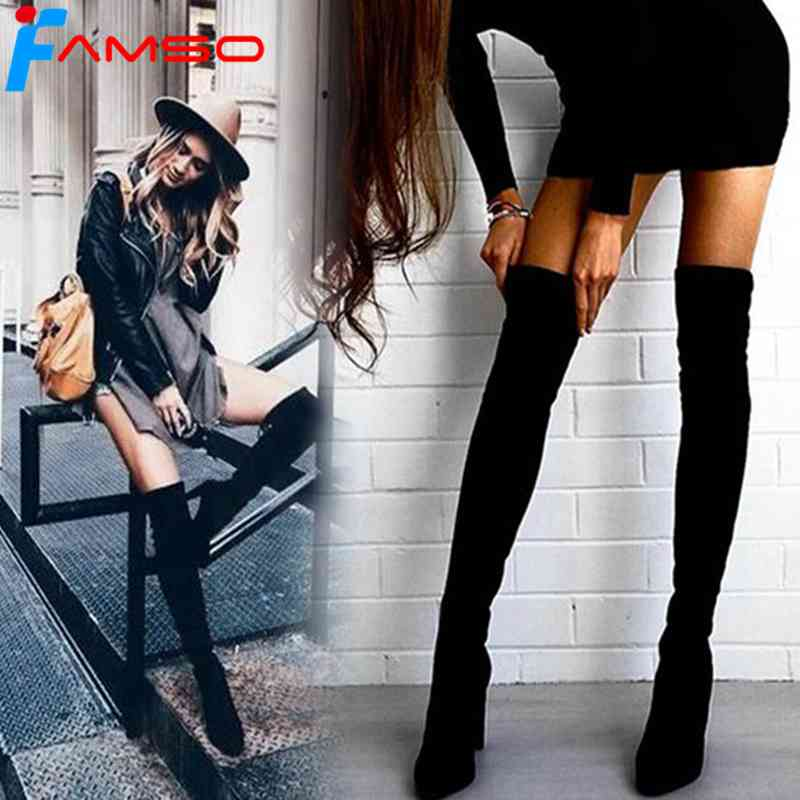 FAMSO Size 34-43 2018 New Shoes Women Boots Black Over the Knee Boots Sexy Female Autumn Winter lady Thigh High Boots SBT3642 dijigirls new autumn winter women over the knee boots shoes woman fashion genuine leather patchwork long high boots 34 43