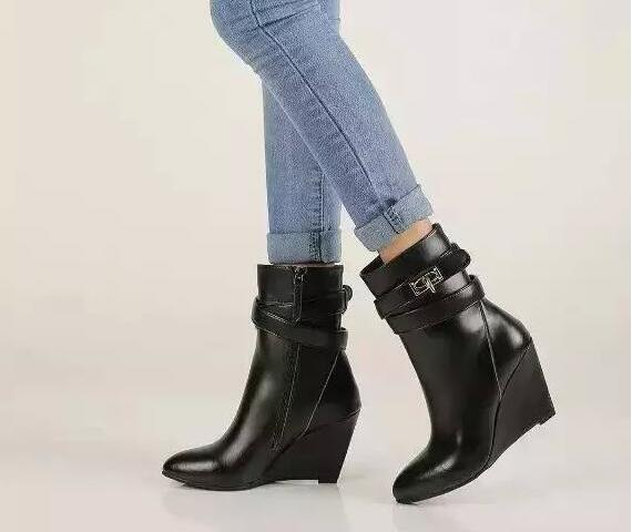 2017 mode femmes chaussures talons hauts solides compensées bout pointu femmes bottes noir bottines chaudes Botas Mujer pompes Sapatos Femininas - 5