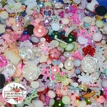 500 шт./лот Разноцветные смешанный дизайн жемчужные бусины в форме цветка накладные клейкие ногти ABS имитация жемчужное ожерелье ремесел 4-20 мм