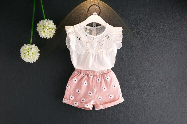AJLONGER Girls Clothing Sets New Summer Clothes Flower Kids T-shirt +Shorts Children
