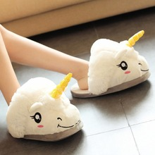 2016 New Winter Warm Slippers Women Casual Home Indoor Cute Cartoon Plush Unicorn Shoes For Grown Ups Pantufas