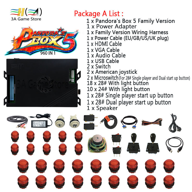 Pandora box 5 960 in 1 game jamma board joystick buttons diy kit arcade control with coin acceptor power supply parts