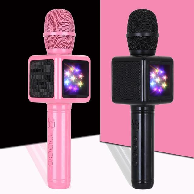 Караоке Портативный микрофон конденсаторный Беспроводной Bluetooth Динамик с подсветкой Дискотека дома Мини КТВ телефон музыкальный плеер подарок для малыша