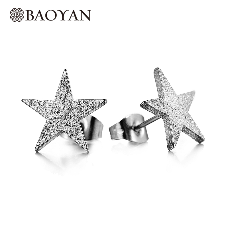 Baoyan 316L Stainless Steel Cute Ladies Silver Color Matt Star Stud Earring for Women Wholesale Mixed Lots N2