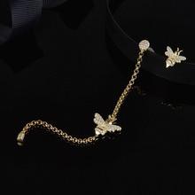 Женские асимметричные серьги SLJELY, длинные серьги из стерлингового серебра 925 пробы золотистого цвета с Пчелой, инкрустированные цирконием, модные вечерние ювелирные изделия